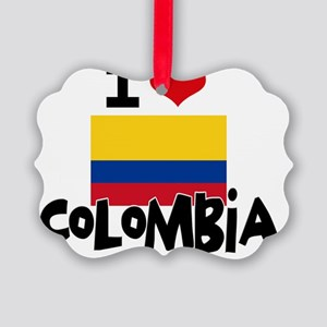 I HEART COLOMBIA FLAG Picture Ornament
