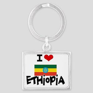 I HEART ETHIOPIA FLAG Landscape Keychain