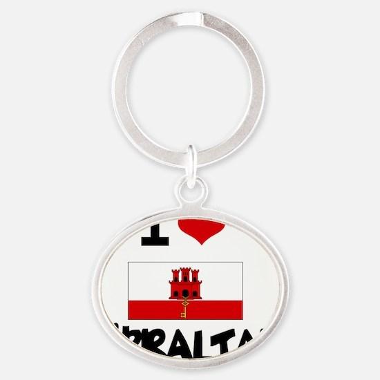I HEART GIBRALTAR FLAG Oval Keychain