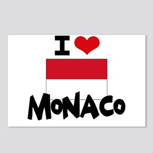 I HEART MONACO FLAG Postcards (Package of 8)