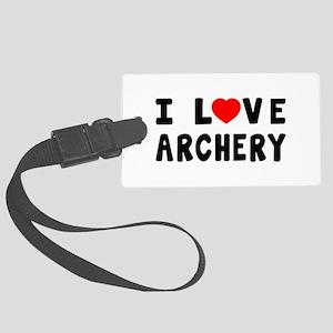 I Love Archery Large Luggage Tag
