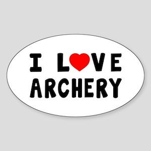 I Love Archery Sticker (Oval)