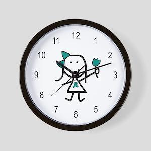 Girl & Teal Ribbon Wall Clock