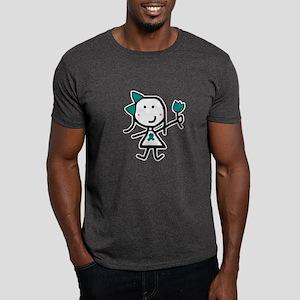 Girl & Teal Ribbon Dark T-Shirt