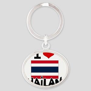 I HEART THAILAND FLAG Oval Keychain