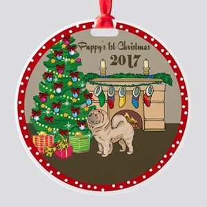 2017 Chow Chows 1St Christmas Round Ornament