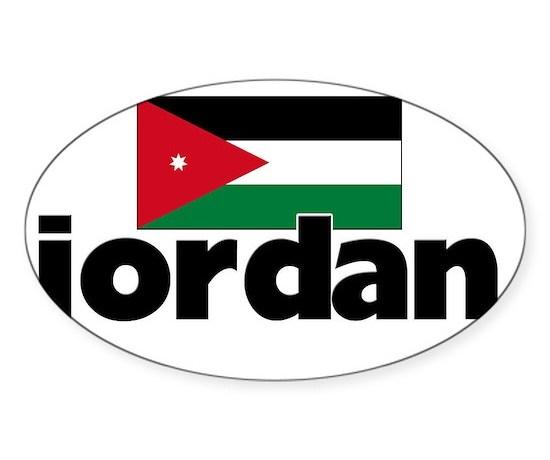 I heart jordan flag sticker oval