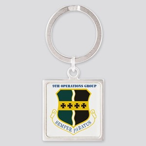 9th Operations Group with Text Square Keychain