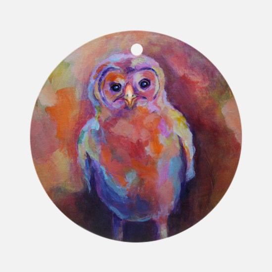 BABY BARRED OWL Acrylic1 Round Ornament