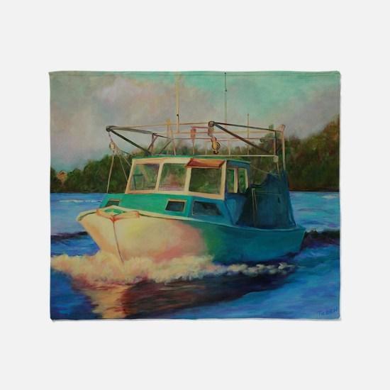 Shrimp Boat Throw Blanket