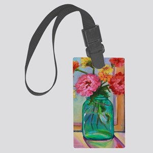 Zinnias in Mason Jar Large Luggage Tag