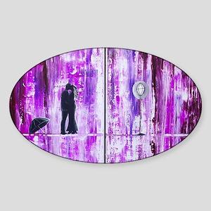 Purple Rain Romance Sticker (Oval)