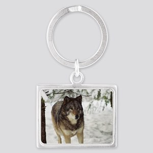 """Red  Timber  Wolf"" Landscape Keychain"