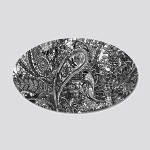 Extra Wild Paisley B/W 20x12 Oval Wall Decal