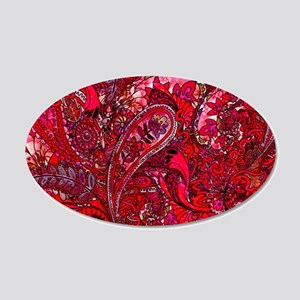 Extra Wild Paisley Red 20x12 Oval Wall Decal