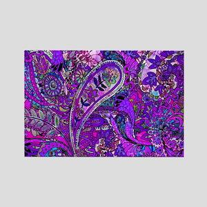 Extra Wild Paisley Purple Rectangle Magnet