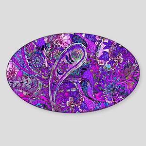 Extra Wild Paisley Purple Sticker (Oval)