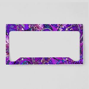 Extra Wild Paisley Purple License Plate Holder
