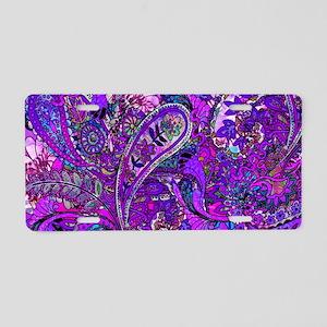 Extra Wild Paisley Purple Aluminum License Plate