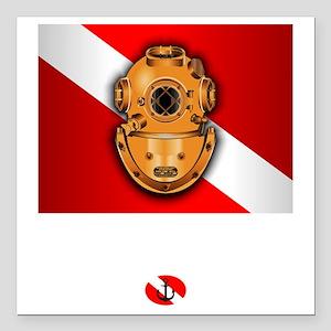 """Hard Hat Diver Square Car Magnet 3"""" x 3"""""""
