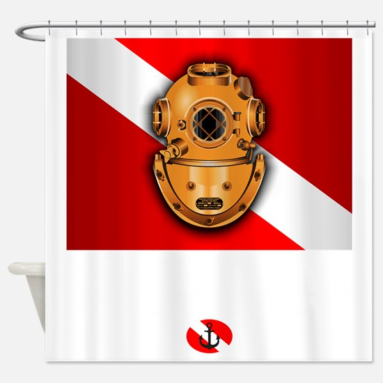 Hard Hat Diver Shower Curtain