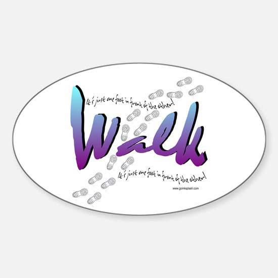 Walk - Just one foot Oval Decal