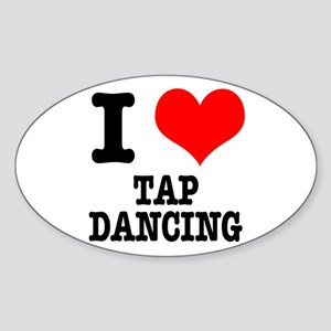 I Heart (Love) Tap Dancing Oval Sticker