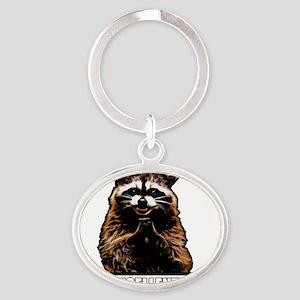 Evil Raccoon Oval Keychain