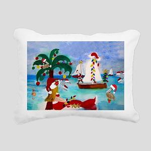 Christmas Boat Parade Rectangular Canvas Pillow