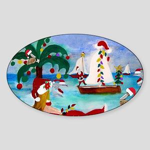 Christmas Boat Parade Sticker (Oval)