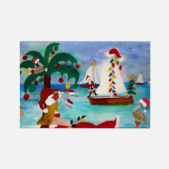 Christmas Boat Parade Rectangle Magnet