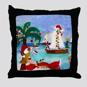 Christmas Boat Parade Throw Pillow