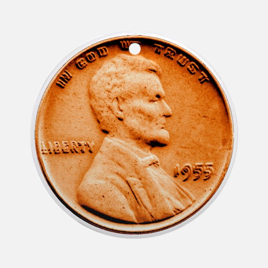 1955 Double Die Lincoln Cent Ornament (Round)