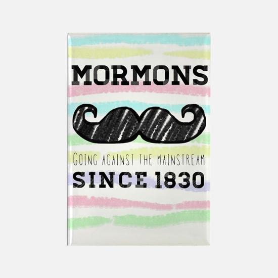 Hipster Mormon Striped Rectangle Magnet