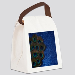 Blue Peacock Bouquet Canvas Lunch Bag