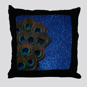 Blue Peacock Bouquet Throw Pillow