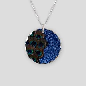 Blue Peacock Bouquet Necklace Circle Charm