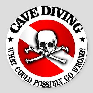 Cave Diving (Skull) Round Car Magnet