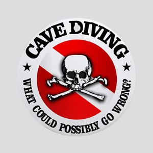 Cave Diving (Skull) Round Ornament