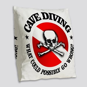 Cave Diving (Skull) Burlap Throw Pillow