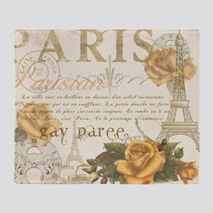 Vintage Paris Throw Blanket
