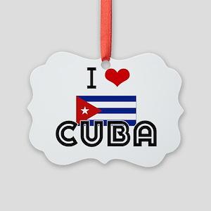I HEART CUBA FLAG Picture Ornament