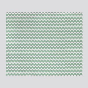 Chevron Zigzag Pattern Mint Green an Throw Blanket