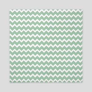 Chevron Zigzag Pattern Mint Green and  Queen Duvet