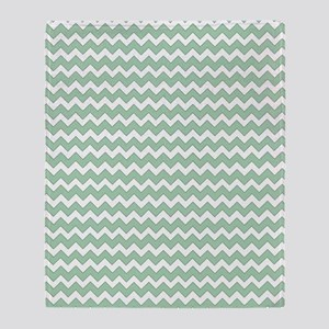 Chevron Zigzag Pattern Mint Green an Throw Blanket