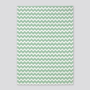 Chevron Zigzag Pattern Mint Green a 5'x7'Area Rug