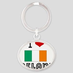 I HEART IRELAND FLAG Oval Keychain