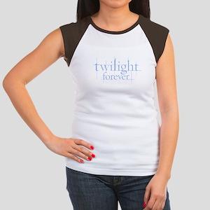 Twilight Forever Logo Lt Blue Women's Cap Sleeve