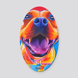 Pit Bull #18 Oval Car Magnet