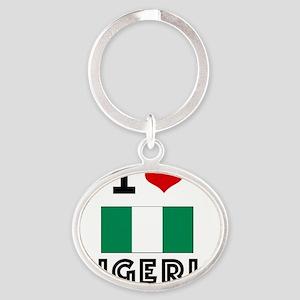 I HEART NIGERIA FLAG Oval Keychain